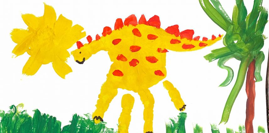 A children's painting of a stegosaurus out on a sunny day.