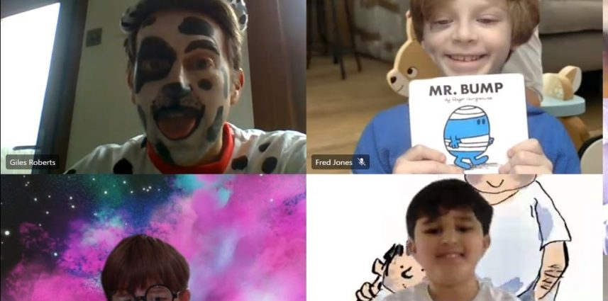 Four school boys in a Zoom call dressed up, one as a Dalmatian, one as Mr. Bump, one as Harry Potter and one as a footballer.