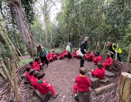 A group of children in a circle with their teachers